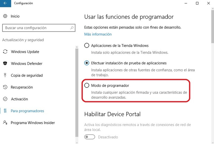 Windows 10 activar modo programador