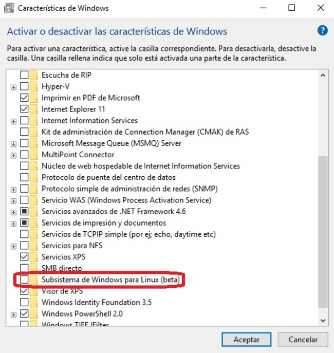 Windows 10 instalar subsistema linux