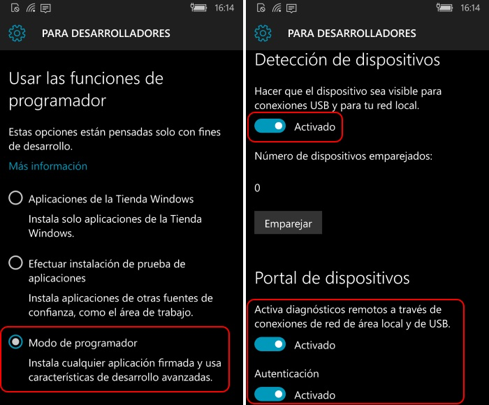 activacion modo programador windows 10 mobile