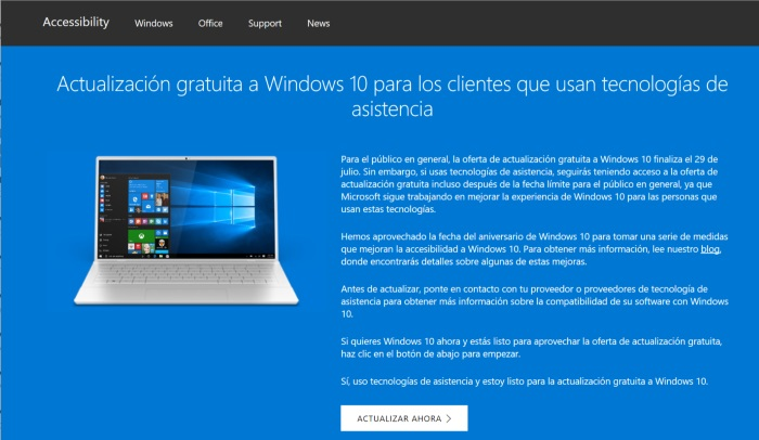 actualizacion windows 10 gratis tecnologias asistencia