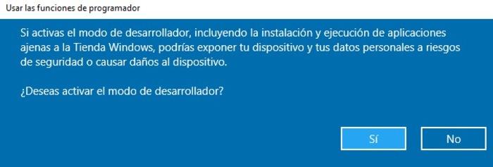 modo programador windows 10