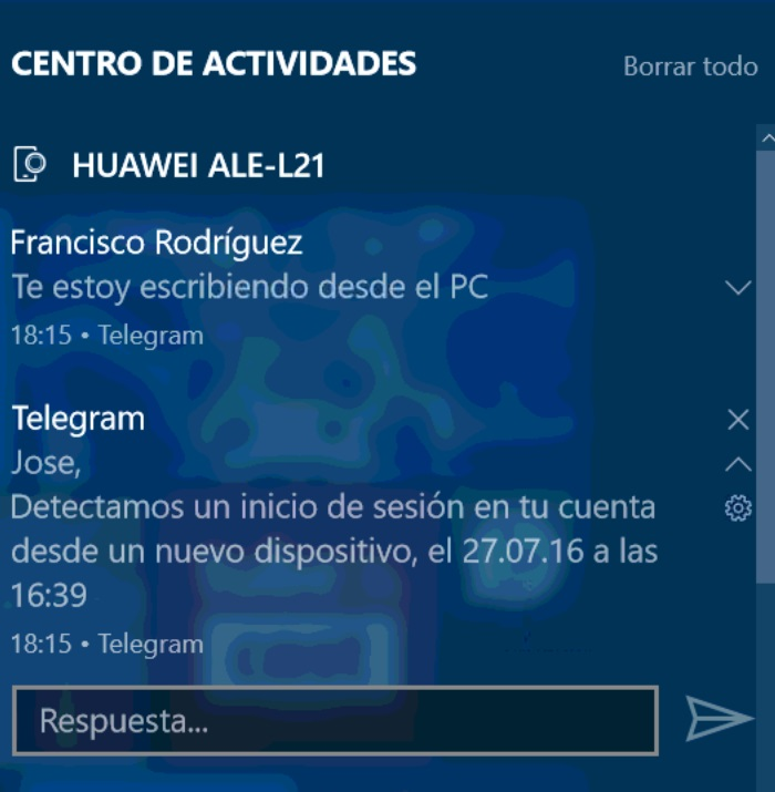 notificaciones android windows 10 mobile