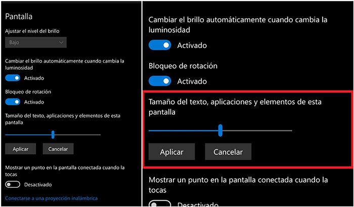 Cambiar tamaño elementos Windows 10 Mobile