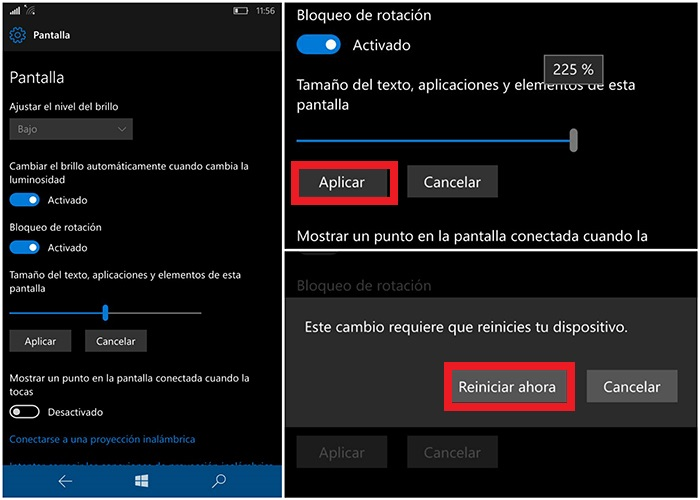 Cambiar tamaño interfaz Windows 10 Mobile