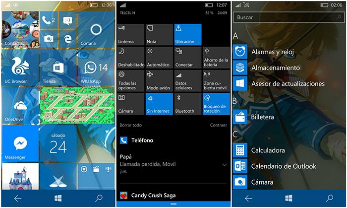 Tamaño de los elementos aumentado en Windows 10 Mobile