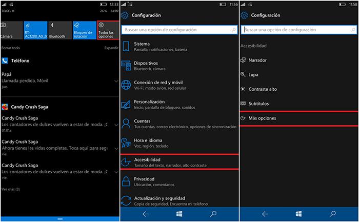 Cambiar tamaño texto Windows 10 Mobile