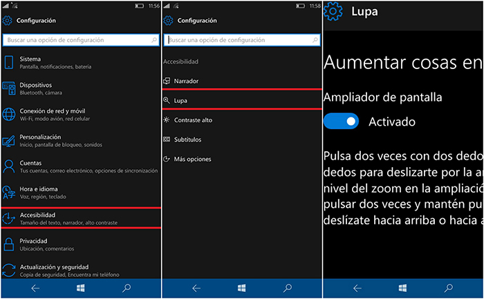 Usar la Lupa de Windows 10 Mobile para aumentar el tamaño