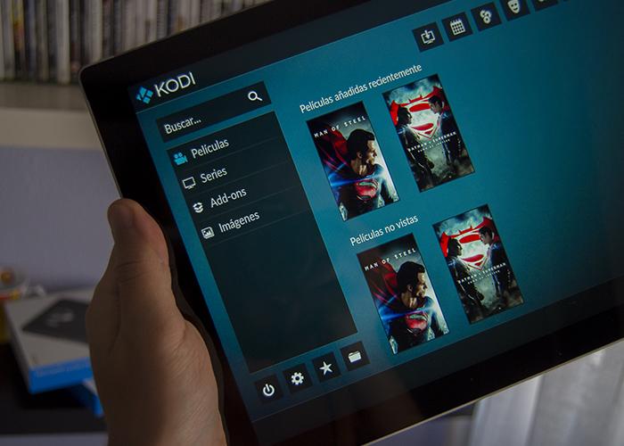 Pantalla de inicio de Kodi en una Surface Pro 3