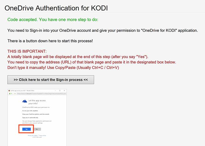 Ventana para proceder a dar permiso para que Kodi se conecte a OneDrive
