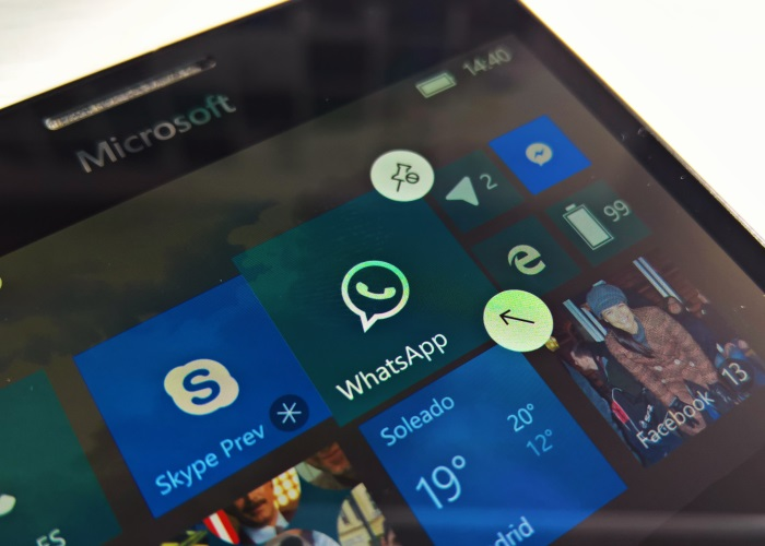Live tile de WhatsApp en Windows 10 Mobile