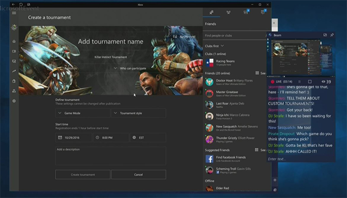 Interfaz de creación de torneos en Xbox Arena