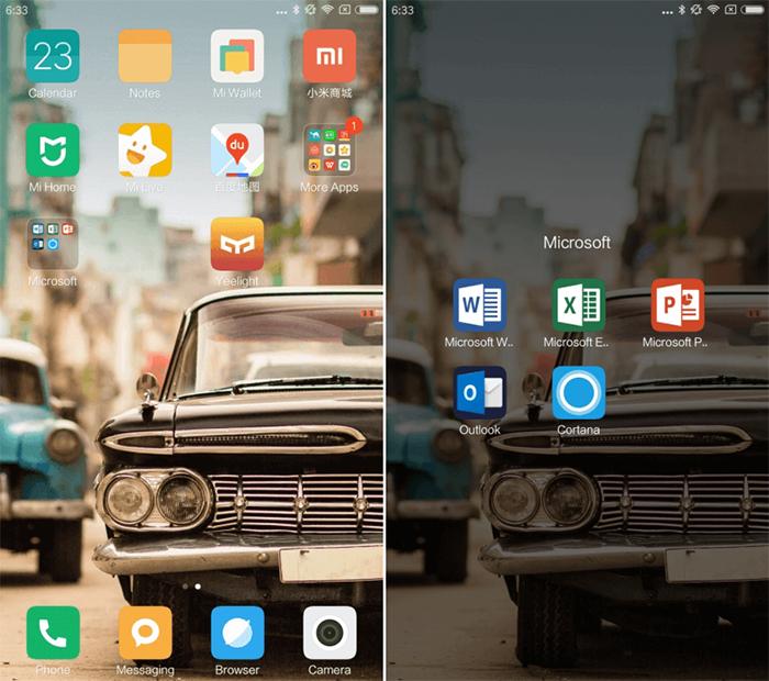 Las aplicaciones que vienen preinstaladas de Microsoft en el Xiaomi