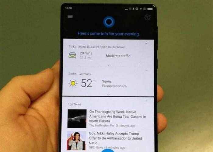 Cortana ejecutándose en un Xiaomi Mi Mix