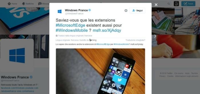 tuit francia microsoft edge extensiones windows mobile