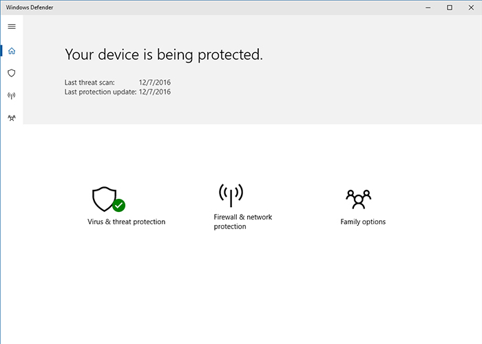 Nueva interfaz de Windows Defender