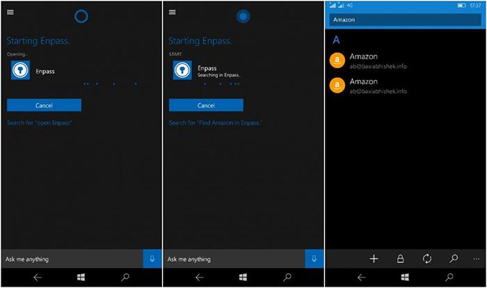 Integración de Enpass con Cortana