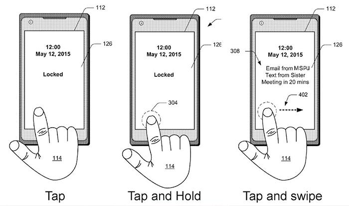 Patente de Microsoft con los gestos en el lector de huellas en pantalla