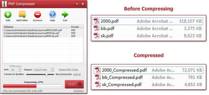 PDF compressor Pro captura