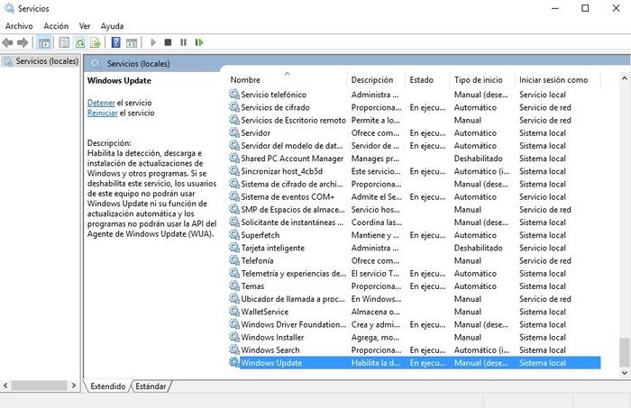 Windows Update detener
