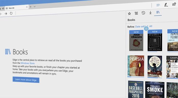 Posibilidad de leer libros electrónicos en Edge