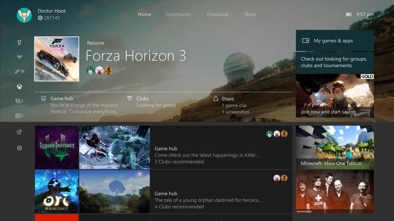 Nueva apariencia más moderna en el inicio de Xbox One