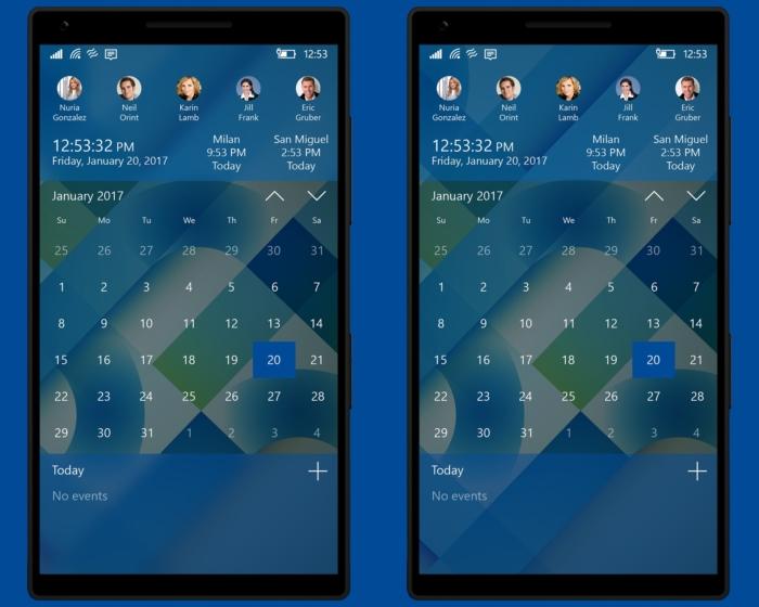 Concepto Windows 10 Mobile grupos relij caledario barra de contactos