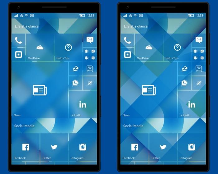 Concepto Windows 10 Mobile pantalla inicio