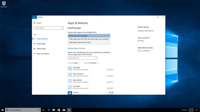 Configuracion Tienda de Windows permitir app Win32