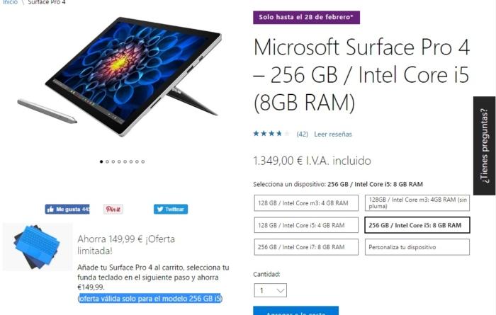 Surface pro 4 descuento 149 euros