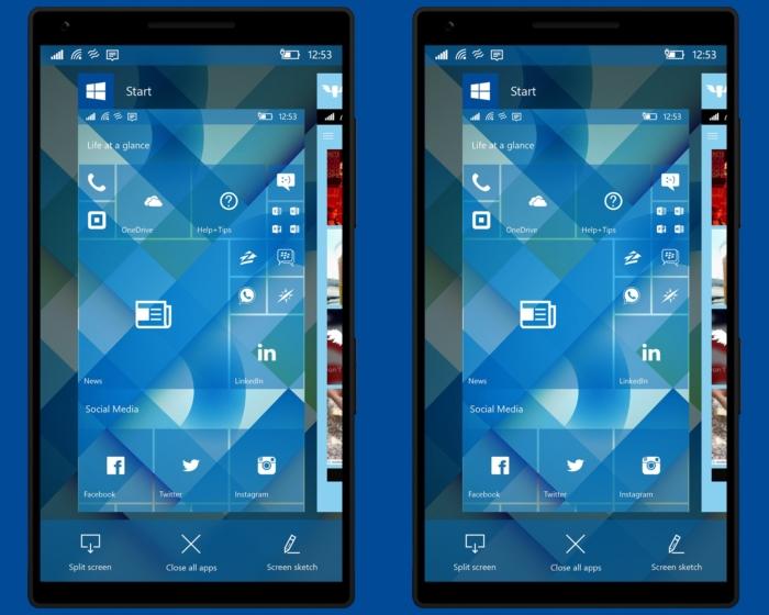 Windows 10 Mobile concepto creators update gestor multitarea