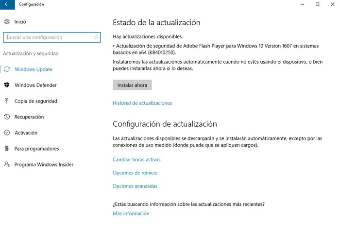 actualizacion flash windows 10