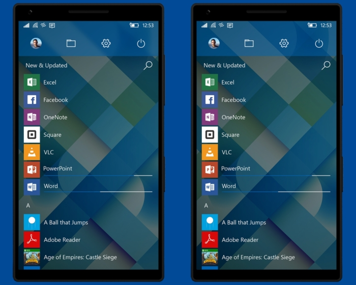concepto Windows 10 mobile menu todas aplicaciones