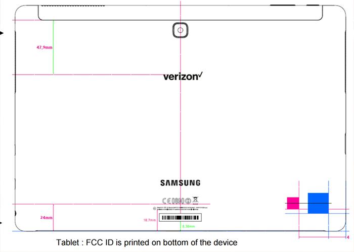 Imagen de la nueva tablet de Samsung del FCC