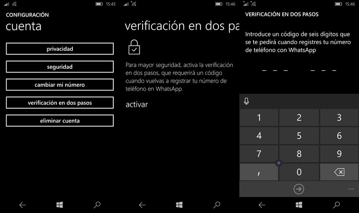 verificacion dos pasos whatsapp windows phone