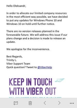 viber windows 10 fin soporte