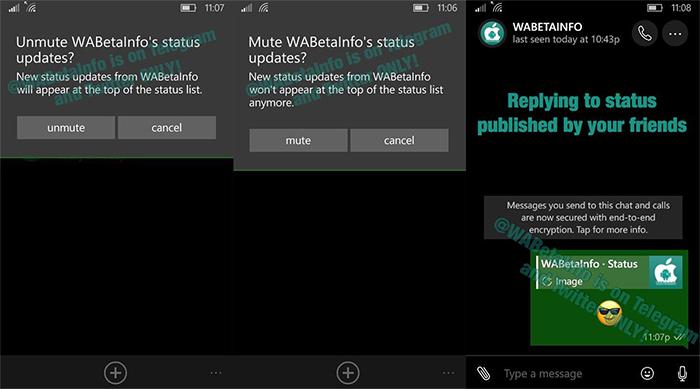 Capturas de pantalla de las nuevas WhatsApp Stories