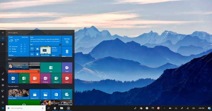 Windows 10 menu de inicio Project NEON tamaño original