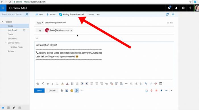 Captura de la extensión de Skype en Outlook