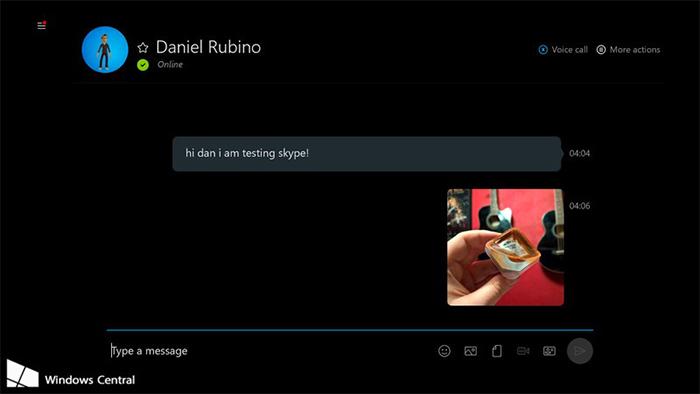 Captura de pantalla de Skype en Xbox One