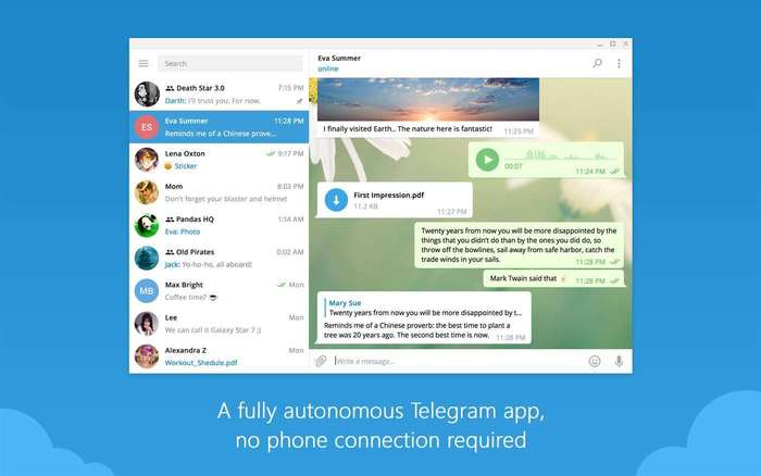 Telegram Desktop Windows 10 interfaz de usuario