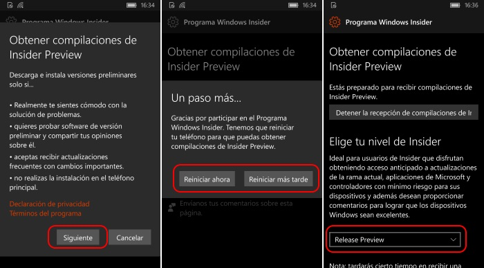asistente windows insider windows 10 mobile