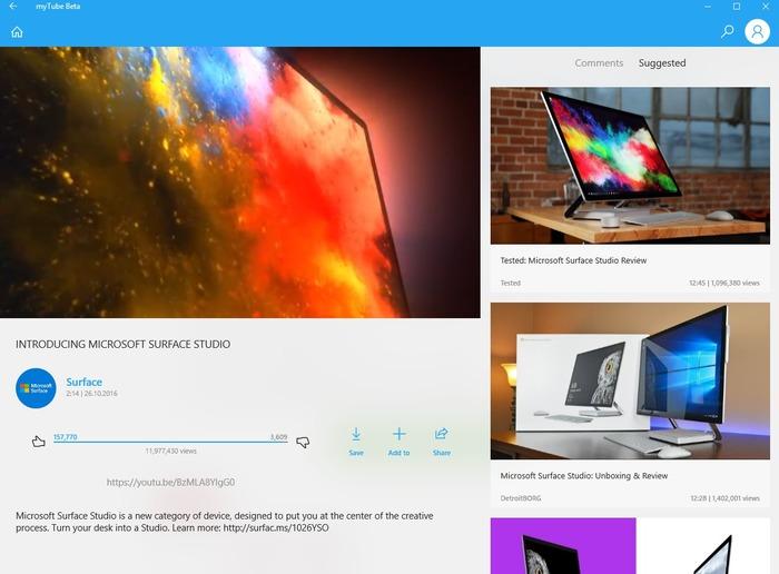 myTube Beta Windows 10