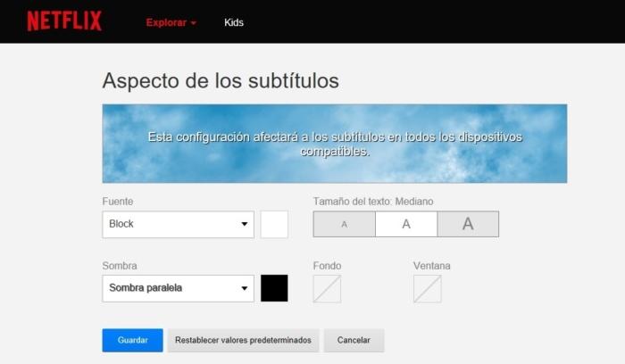 Aspecto Subtitulos Netflix