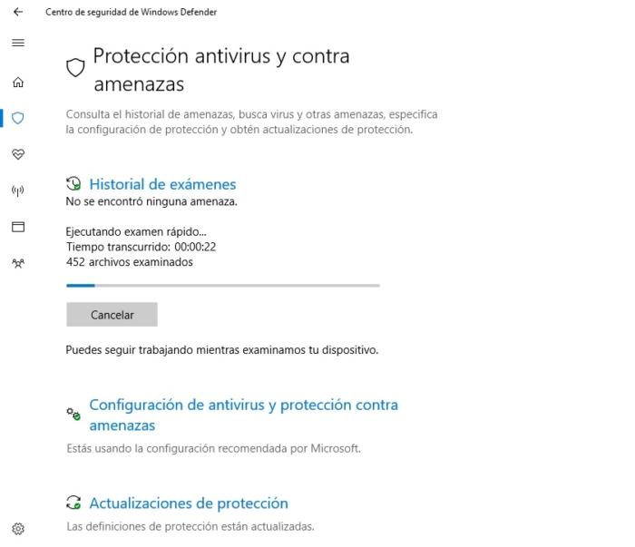 Escaneando Windows Defender