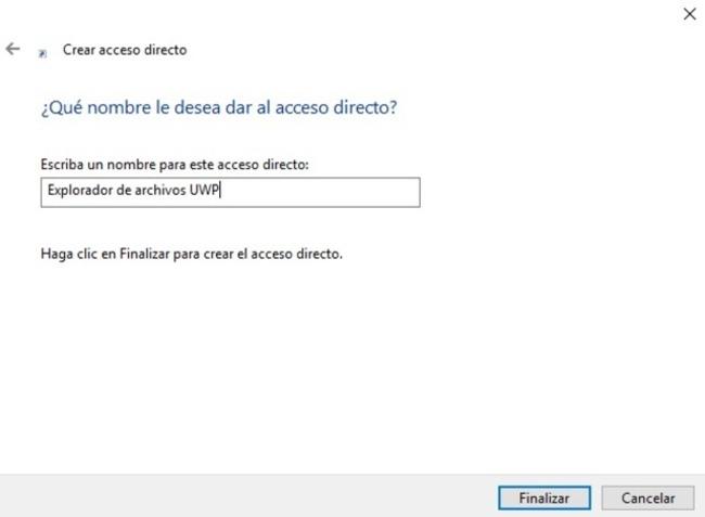Explorador archivos Windows 10 UWP nombre acceso directo