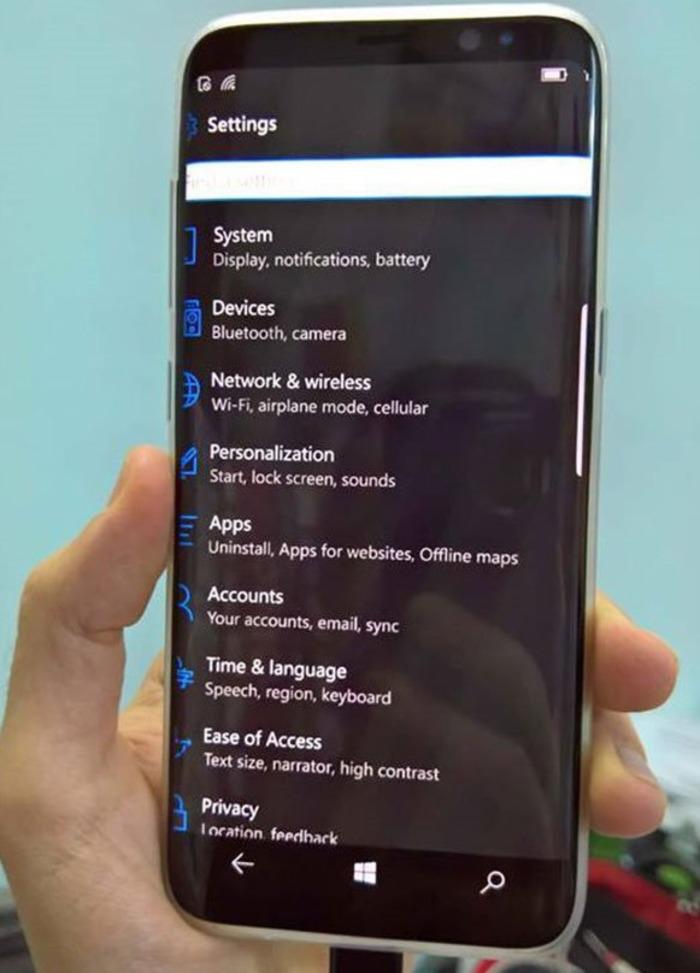 Samsung Galaxy S8 Windows 10 Mobile Fake menu configuracion
