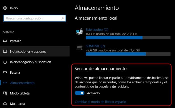 sensor almacenamiento windows 10