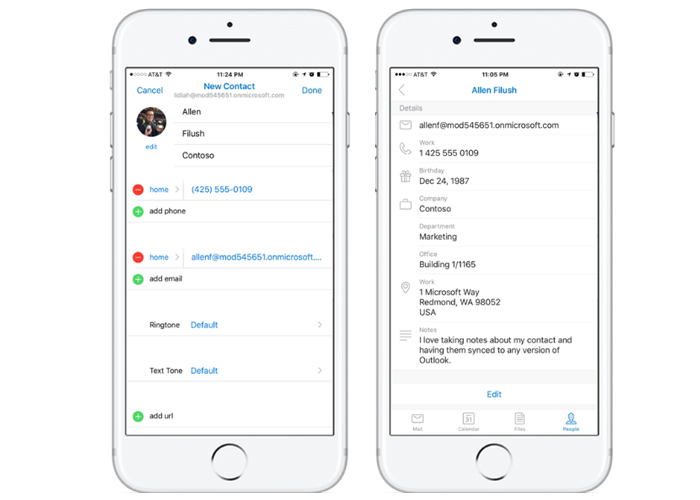 Contactos Outlook iOS