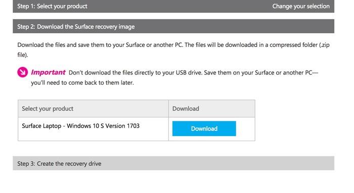 Descargar imagen recuperacion Windows 10 S