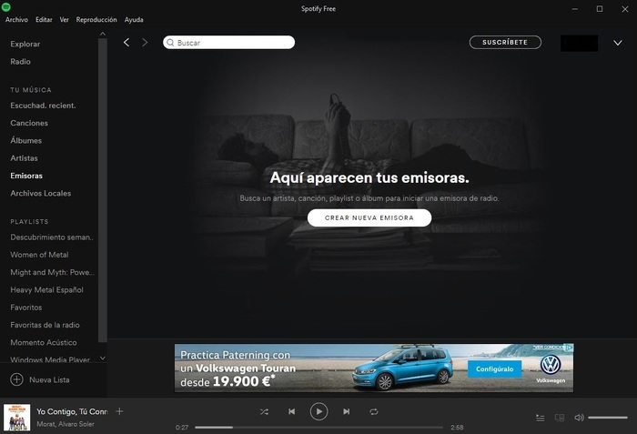 Spotify Windows 10 emisoras radio